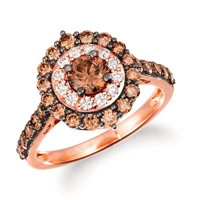 14K Strawberry Gold® Ring with Chocolate Diamonds® 1  1/4 cts., Nude Diamonds™ 1/5 cts. | TRKE 83