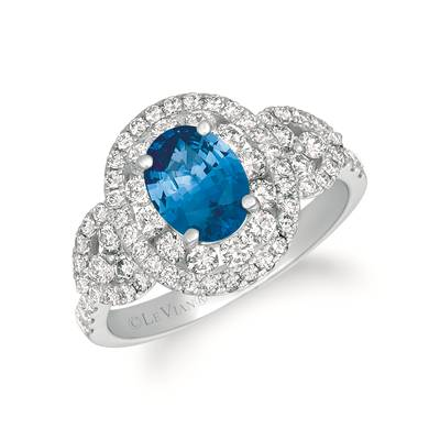 14K Vanilla Gold® Cornflower Ceylon Sapphire™ 1  1/4 cts. Ring with Vanilla Diamonds® 1 cts. | TRKH 29