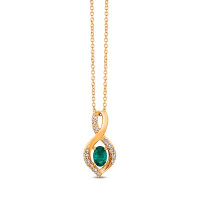14K Honey Gold™ Costa Smeralda Emeralds™ 1/3 cts. Pendant with Nude Diamonds™ 1/5 cts. | TRKH 3