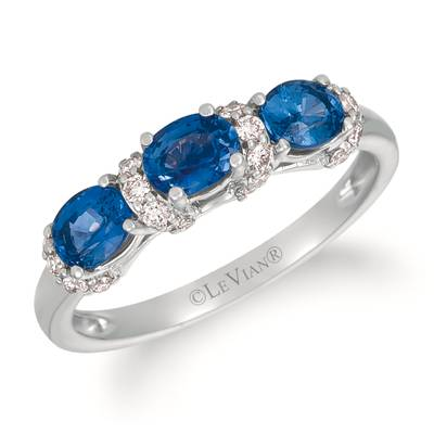 14K Vanilla Gold® Blueberry Sapphire™ 1 cts. Ring with Vanilla Diamonds® 1/5 cts. | TRKH 34