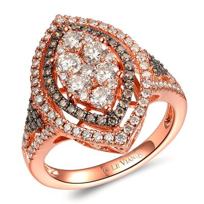 14K Strawberry Gold® Ring with Nude Diamonds 1  1/4 cts., Chocolate Diamonds® 1/3 cts. | TRKN 48
