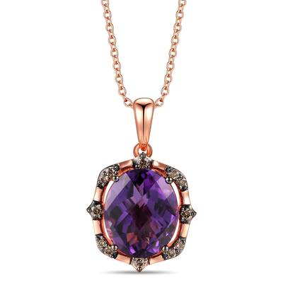 14K Strawberry Gold® Dark Amethyst 4  1/4 cts. Pendant with Chocolate Diamonds® 1/6 cts. | TRKR 130