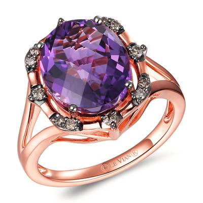 14K Strawberry Gold® Dark Amethyst 4 cts. Ring with Chocolate Diamonds® 1/6 cts. | TRKR 131