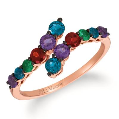 14K Strawberry Gold® Deep Sea Blue Topaz™ 1/3 cts., Grape Amethyst™ 1/3 cts., Pomegranate Garnet™ 1/6 cts., Costa Smeralda Emeralds™ 1/15 cts. Ring | TRLD 22