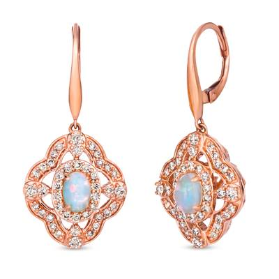 14K Strawberry Gold® Neopolitan Opal™ 3/8 cts. Earrings with Nude Diamonds 7/8 cts. | TRLD 50