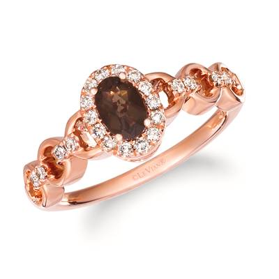 14K Strawberry Gold® Chocolate Quartz® 1/3 cts. Ring with Nude Diamonds 1/5 cts. | TRLD 54