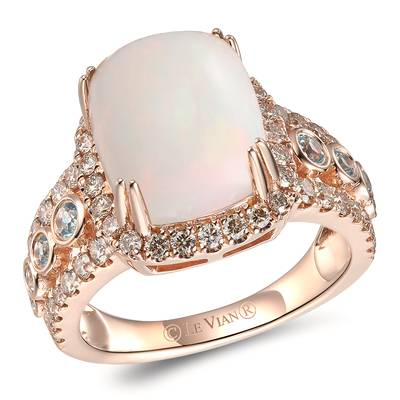 14K Strawberry Gold® Neopolitan Opal™ 2  1/6 cts., Blue Topaz 1/4 cts. Ring with Nude Diamonds™ 3/4 cts. | TRLD 77
