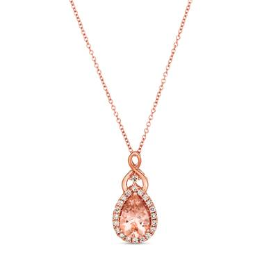 14K Strawberry Gold® Peach Morganite™ 1  1/3 cts. Pendant with Nude Diamonds™ 1/4 cts. | TRLD 84
