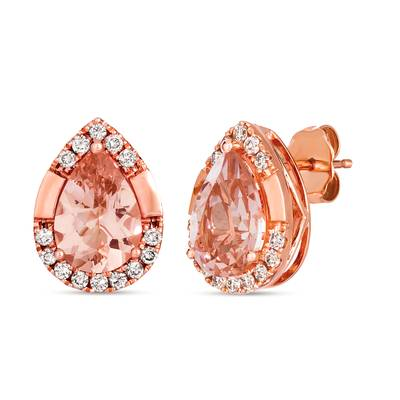 14K Strawberry Gold® Peach Morganite™ 2  3/4 cts. Earrings with Nude Diamonds 1/3 cts. | TRLD 85