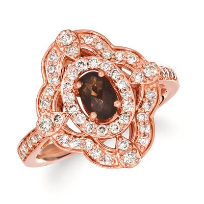 14K Strawberry Gold® Chocolate Quartz® 3/8 cts. Ring with Nude Diamonds 5/8 cts. | TRLN 11