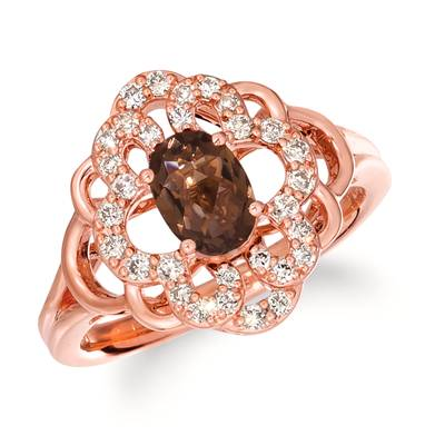 14K Strawberry Gold® Chocolate Quartz® 5/8 cts. Ring with Nude Diamonds™ 1/3 cts. | TRLN 3