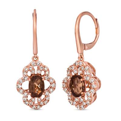 14K Strawberry Gold® Chocolate Quartz® 1  5/8 cts. Earrings with Nude Diamonds™ 5/8 cts. | TRLN 5