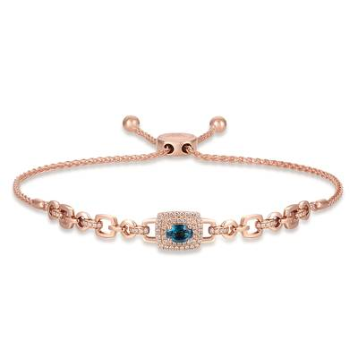 14K Strawberry Gold® Deep Sea Blue Topaz™ 7/8 cts. Bolo Bracelet with Nude Diamonds™ 5/8 cts. | TRLR 34