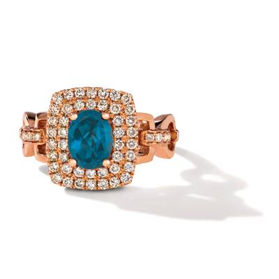 14K Strawberry Gold® Deep Sea Blue Topaz™ 1  3/8 cts. Ring with Nude Diamonds™ 5/8 cts. | TRLR 35