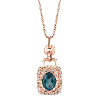 14K Strawberry Gold® Deep Sea Blue Topaz™ 1  3/8 cts. Pendant with Nude Diamonds™ 5/8 cts. | TRLR 36