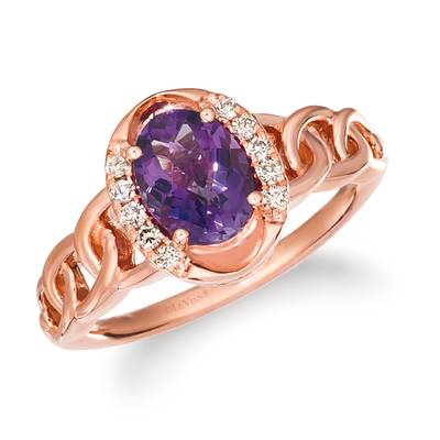 14K Strawberry Gold® Grape Amethyst™ 1  1/6 cts. Ring with Nude Diamonds™ 1/10 cts. | TRLR 51