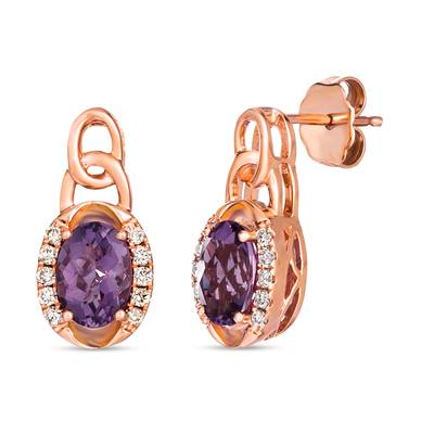 14K Strawberry Gold® Grape Amethyst™ 1  1/3 cts. Earrings with Nude Diamonds™ 1/6 cts. | TRLR 53