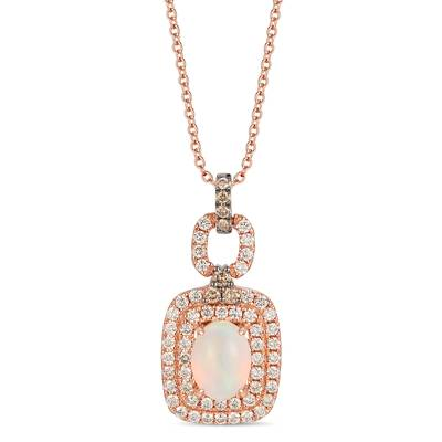 14K Strawberry Gold® Neopolitan Opal™ 5/8 cts. Pendant with Chocolate Diamonds® 1/8 cts., Nude Diamonds™ 5/8 cts. | TRLR 56