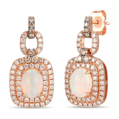 14K Strawberry Gold® Neopolitan Opal™ 7/8 cts. Earrings with Chocolate Diamonds® 1/5 cts., Nude Diamonds™ 3/4 cts. | TRLR 57