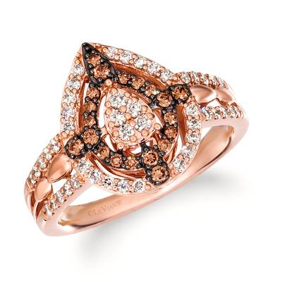 14K Strawberry Gold® Ring with Nude Diamonds™ 3/8 cts., Chocolate Diamonds® 1/5 cts. | TRLR 72