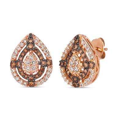 14K Strawberry Gold® Earrings with Nude Diamonds™ 3/8 cts., Chocolate Diamonds® 3/8 cts. | TRLR 74