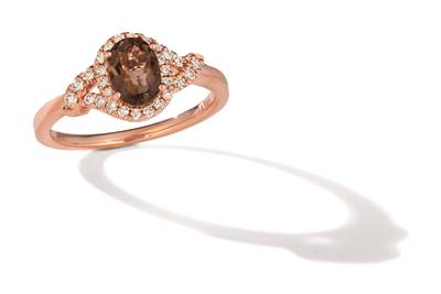 14K Strawberry Gold® Chocolate Quartz® 3/4 cts. Ring with Nude Diamonds™ 1/5 cts. | TRLZ 56