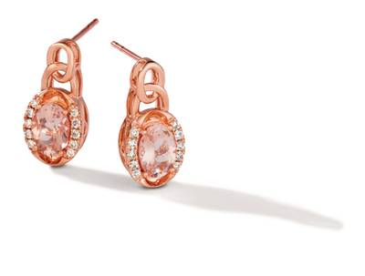 14K Strawberry Gold® Peach Morganite™ 1 cts. Earrings with Nude Diamonds 1/6 cts. | TRLZ 67