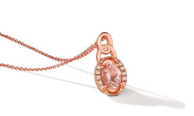 14K Strawberry Gold® Peach Morganite™ 7/8 cts. Pendant with Nude Diamonds™ 1/10 cts. | TRLZ 68