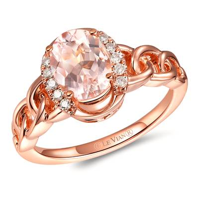 14K Strawberry Gold® Peach Morganite™ 7/8 cts. Ring with Nude Diamonds™ 1/10 cts. | TRLZ 69