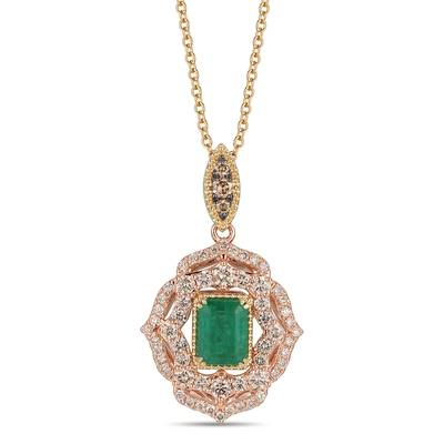 14K Two Tone Gold New Emerald 1  1/5 cts. Pendant with Nude Diamonds™ 1 cts., Chocolate Diamonds® 1/8 cts. | TRMB 2A