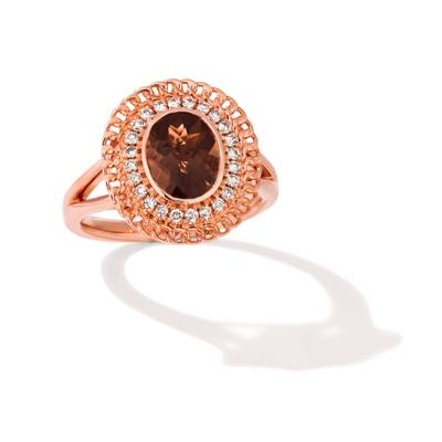14K Strawberry Gold® Chocolate Quartz® 1  5/8 cts. Ring with Nude Diamonds™ 1/5 cts. | TRMW 16D