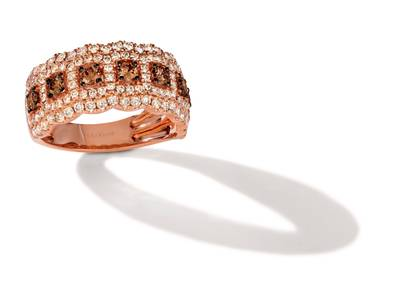 14K Strawberry Gold® Ring with Chocolate Diamonds® 1/2 cts., Nude Diamonds™ 7/8 cts. | TRNV 2S6