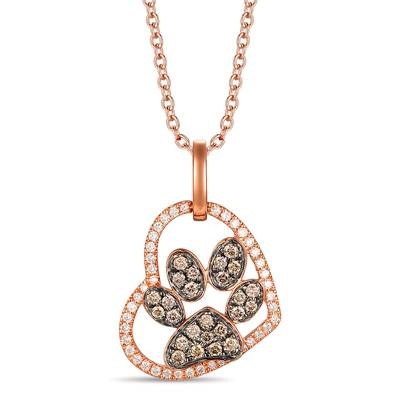 14K Strawberry Gold® Pendant with Chocolate Diamonds® 1/5 cts., Vanilla Diamonds® 1/8 cts. | TRNV 3