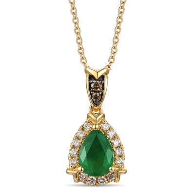 14K Honey Gold™ New Emerald 1/2 cts. Pendant with Chocolate Diamonds®  cts., Nude Diamonds™ 1/8 cts. | TROI 10
