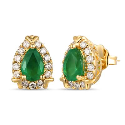 14K Honey Gold™ New Emerald 5/8 cts. Earrings with Nude Diamonds™ 1/4 cts. | TROI 3