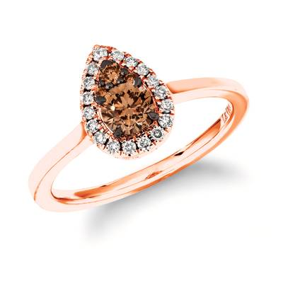 14K Strawberry Gold® Ring with Chocolate Diamonds® 1/3 cts., Nude Diamonds™ 1/8 cts. | TROK 20RG