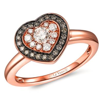 14K Strawberry Gold® Ring with Nude Diamonds™ 1/3 cts., Chocolate Diamonds® 1/6 cts. | TROL 6D