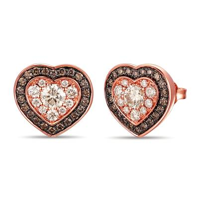 14K Strawberry Gold® Earrings with Nude Diamonds™ 5/8 cts., Chocolate Diamonds® 1/3 cts. | TROL 7D