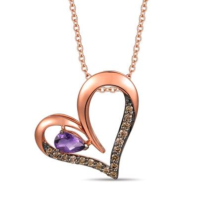 14K Strawberry Gold® Grape Amethyst™ 1/3 cts. Pendant with Chocolate Diamonds® 1/4 cts. | TROT 27