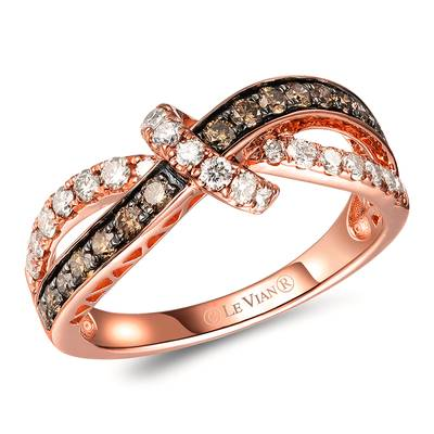 14K Strawberry Gold® Ring with Chocolate Diamonds® 1/3 cts., Nude Diamonds™ 3/8 cts. | TROW 5