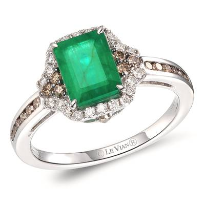 14K Vanilla Gold® New Emerald 1  1/5 cts. Ring with Chocolate Diamonds® 1/4 cts., Nude Diamonds 1/6 cts. | TRPN 2