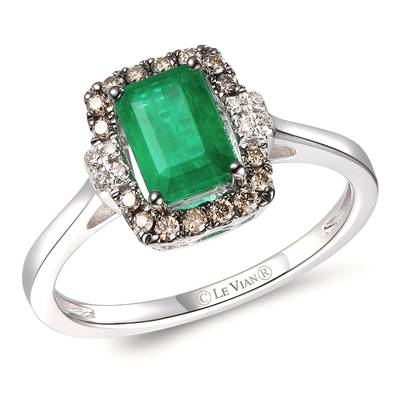 14K Vanilla Gold® New Emerald 3/4 cts. Ring with Chocolate Diamonds® 1/8 cts., Nude Diamonds  cts. | TRPN 22