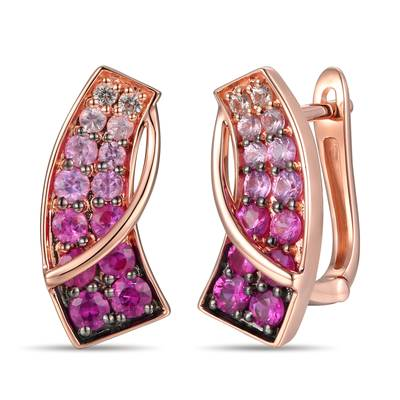 14K Strawberry Gold® Strawberry Ombré® 1  1/8 cts., White Sapphire 1/15 cts. Earrings | TRPN 24
