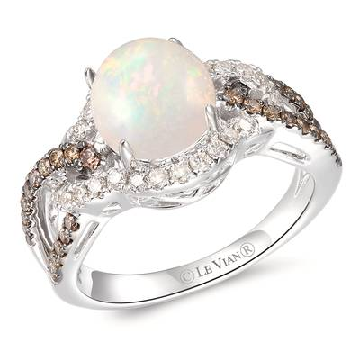 14K Vanilla Gold® Neopolitan Opal™ 1 cts. Ring with Chocolate Diamonds® 1/4 cts., Nude Diamonds 1/4 cts. | TRPN 36