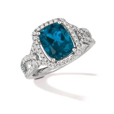 14K Vanilla Gold® Deep Sea Blue Topaz™ 3 cts. Ring with Nude Diamonds™ 1/2 cts. | TRPN 47