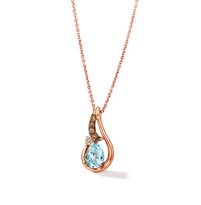 14K Strawberry Gold® Blue Topaz 1 cts. Pendant with Nude Diamonds™ 1/20 cts., Chocolate Diamonds® 1/15 cts. | TRPN 54