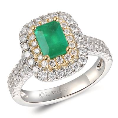 P18 Two Tone Gold New Emerald 3/4 cts. Ring | TRPO 27