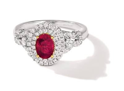 P18 Two Tone Gold Passion Ruby™ 3/4 cts. Ring with Vanilla Diamonds® 5/8 cts. | TRPO 28
