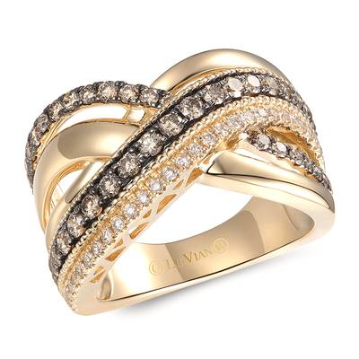 14K Honey Gold™ Ring with Chocolate Diamonds® 7/8 cts., Nude Diamonds™ 1/5 cts. | TRQF 24