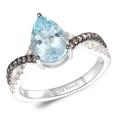 14K Vanilla Gold® Sea Blue Aquamarine® 1  1/2 cts. Ring with Chocolate Diamonds® 1/5 cts., Nude Diamonds™ 1/8 cts. | TRQF 38